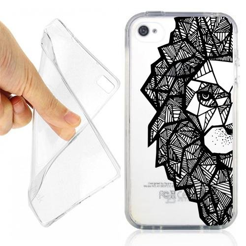 CUSTODIA COVER CASE MAORI LION PER IPHONE 4 4S TRASPARENTE