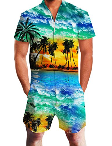 Uideazone Funky Hawaiian Shorts for Men Short Sleeve One Piece Romper Jumpsuit Beach Palm (Hawaiian Short Sleeve Shorts)