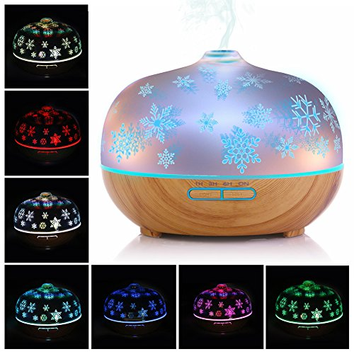 Glass Aroma Essential Oil Diffuser with 3D Diffuser Christmas Snowflake Effect, Aromatherapy Humidifier 7 Colors LED Light, Waterless Auto Shut-off