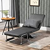 HOMCOM 3-in-1 Sofa Chair Single Bed with 5-Position
