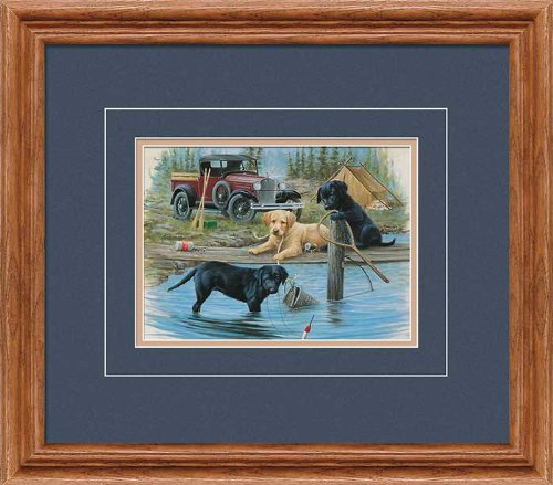 Fishing Trip - Puppies GNA Deluxe Framed Print by Jim Killen