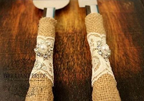 Amazon Com Wedding Cake Server And Knife Burlap And Lace Wedding