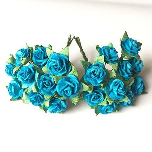 100 (Blue Sea) Mulberry Paper Mini Rose Artificial Flower Scrapbooking Bouquet Diy Craft Handmade in (Valentine's,Wedding etc.) Embellishment Floral Arranging - Wiki Hawaii Blue