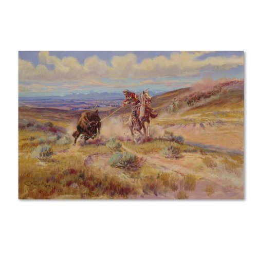 Spearing a Buffalo 1925 Artwork by Charles Russell, 30 by 47-Inch Canvas Wall - Field Marion West