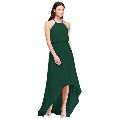 0245c804d3e David s Bridal High-Low Chiffon Halter Neckline Bridesmaid Dress ...