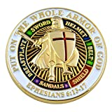 "The Masonic Exchange Masonic Knights Templar Put on the Whole Armor of God Round White Lapel Pin - 1"" Diameter"