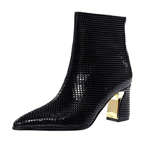 ENMAYER mujeres bloquear tacones altos zapatos de dedo del pie para las mujeres Zip invierno botas de tobillo ocasionales Negro