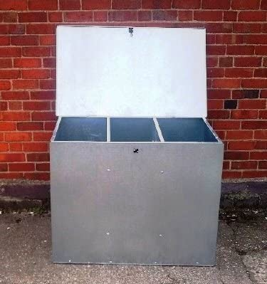 ASA - Arcon de almacenaje, color: gris (LARGE GALVANISED FEED BIN WITH THREE COMPARMENTS)