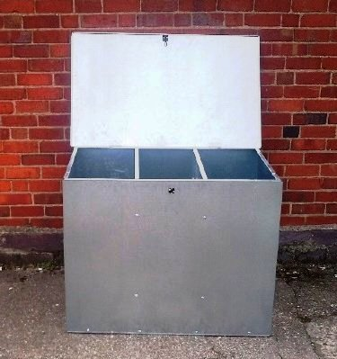 ASA Metal Products Futterbehälter mit 3 Kammern, verzinkt, groß
