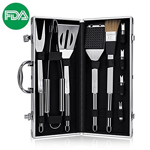 DISCOBALL BBQ Grill Tools Set, Stainless Steel Utensils with Aluminium Case 9 Barbecue Accessories, Outdoor Grilling Kit for Dad by Discoball