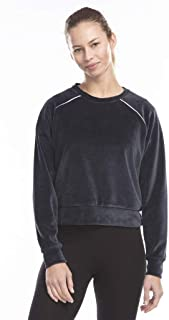 product image for US Blanks Ladies' Velour Long Sleeve Crop T-Shirt - Navy Blue - 2XL