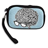 Brain With Glasses Comfortable Coin Purse Storage Package Wallet Zipper Mini Wallet