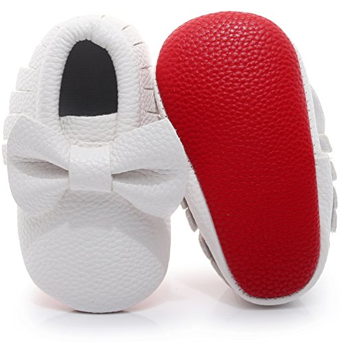 HONGTEYA Red Bottoms Shoes- PU Leather Newborn Baby Shoes Girl Boy Moccasins Bebe Fringe Soft Red Soled Non-Slip Crib Shoe (10.5cm 0-3 Months 4.13inch, Bow-White)