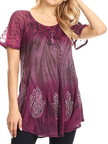Sakkas 18715 - Lily Casual Everyday Summer Short Sleeve Top Blouse with Block Print & Lace - Fuchsia - OS