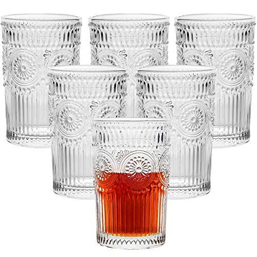 CZUMJJ 12 Ounce Romantic Water Glasses, 6 Pack Drinking Glasses Tumblers, Vintage Drinking Glasses Setfor Whisky, Juice, Beverages, Beer, Cocktail