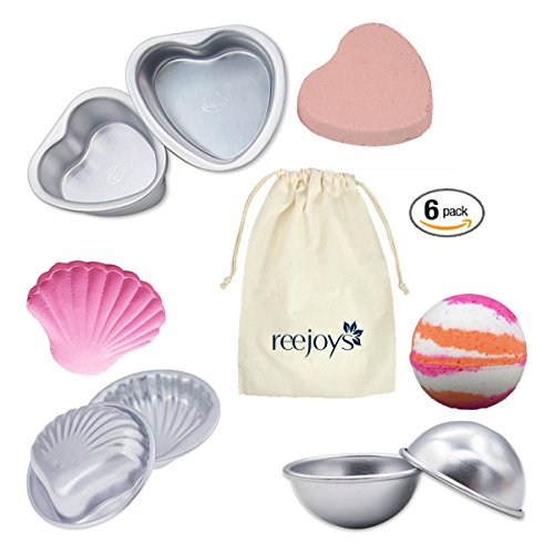 Cupcake Recipes For Halloween Kids (Reejoys 6 Piece Bath Bomb Mold Metal for Bubble Hemisphere Heart and Shell DIY Build Bombs with Fragrance Oil, Dried Lavender Epsom Salt Citric Acid, Gift Basket for Mom/Bridesmaid, Set of 3)