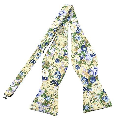 PenSee Men's Self Bow Tie Floral Cotton Bowtie-Various Styles (Apricot Flora (Make Floral Bow)