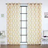 Best Home Fashion Flax Linen Blend Textured Reverse Moroccan Print Curtains – Stainless Steel Nickel Grommet Top – Yellow – 52″W x 96″L – (Set of 2 Panels) Review