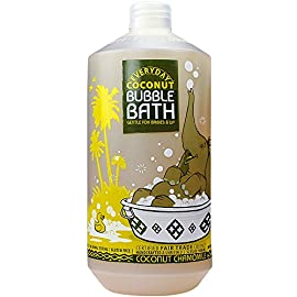 Alaffia, Everyday Coconut Bubble Bath for Babies & Kids, Gentle for Sensitive to Very Dry Skin Types, Coconut Chamomile, Ethically Traded, Non-GMO, 32 oz 6 KIDS BUBBLE BATH Gentle enough for babies and children of all ages with non-irritating ingredients for sensitive and very dry skin NATURALLY FOAMING FUN With virgin coconut oil, calming yarrow and chamomile to nourish and help soften skin SAFE FOR YOUR LITTLE ONES Bring on the bubbles with clean ingredients free of chemical preservatives, color enhancers, synthetic fragrances, gluten, parabens, sulfates or dyes