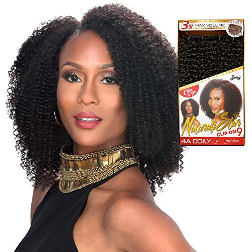 Zury Human Hair Weave Clip On 9Pcs 4A Coily (14
