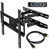 Everstone TV Wall Mount Fit for Most 26'-60' TVs Dual Articulating Arm Full Motion Tilt Swivel Bracket 14' Extension Arm,LED,LCD,OLED& Plasma Flat Screen TV,Curved TV,Up to VESA 400mm,HDMI Cable