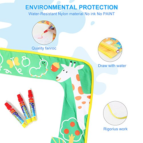 Aquadoodle Mat, Kids Toy Large Water Doodle Mat 39.5'' X 28'' with 3 Magic Pens 2 Drawing Molds, Kids Educational Learning Toy Gift for Boys Girls Toddlers Age 2 3 4 5 Years Old Toddler Toys by Niolio (Image #1)