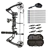 SAS Feud 70 Lbs Compound Bow Travel Package with Arrows, Hard Case, Broadheads, Quiver, Whisker Biscuit Arrow Rest, Release Aid, Wax, Stabilizer, Neoprene Sling, Tube Peep Sight and D-Loop (Black)