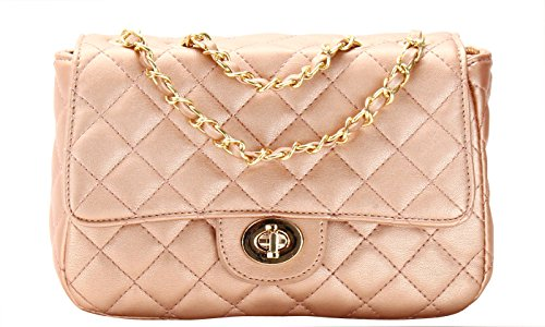 Classic Quilted Medium Shoulder Bag (ROSE GOLD) (Shoulder Medium Bag Gold)