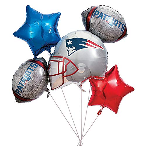 Fun Express - Nfl New England Patriots Balloon Set (5) for Party - Party Supplies - Licensed Tableware - Misc Licensed Tableware - Party - 5 Pieces