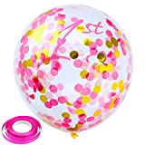 Keriber 20 Pieces Confetti Balloons 12 Inches 1st Birthday Balloons Pink and Gold Latex Clear Confetti Balloon for Birthday Baby Show Party Decorations