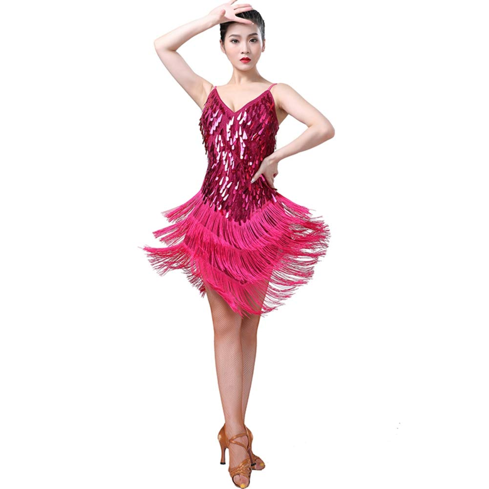 Hongyuangl Womens Spaghetti Strap V Neck Sequin Fringe Dance Party Dress Lady Latin Dress