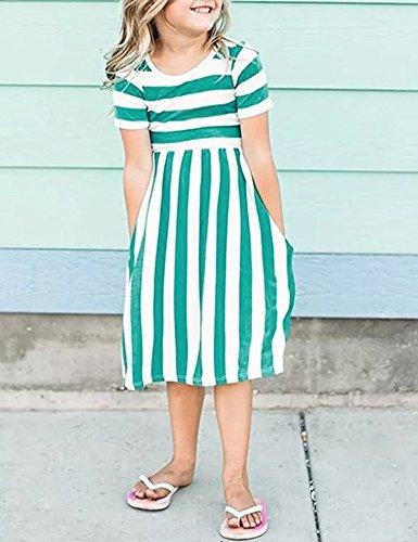Yancorp Girl Dress Short Sleeve Casual Midi Stripe Dresses with Pockets Kids Summer Beach Fashion Wear 6T-11T (Green, L(8T-9T)) by Yancorp (Image #1)
