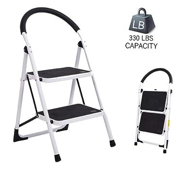 Dporticus Portable Anti-Slip 2 Step Ladder Folding Lightweight Steel Step Stool Platform 330LBS Capacity