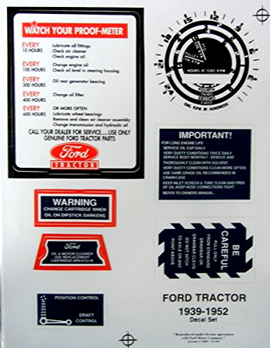 1939-1952 FORD 9N, 2N And 8N TRACTOR RESTORATION DECAL SET - All Decals Needed Plus Placement Instructions