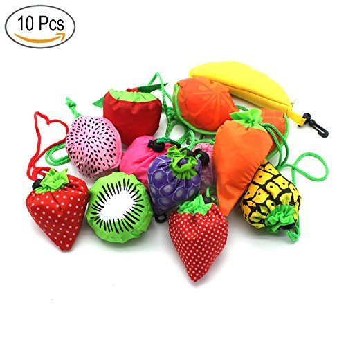 YUYIKES 10PCS Fruits Reusable Grocery Shopping Tote Bags Folding Pouch Storage Bags Convenient Grocery Bags for Shopping Travel -