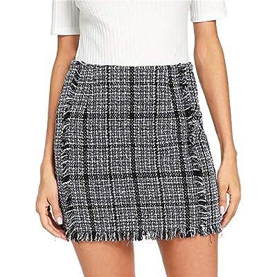 AkovichFarh Plaid Frayed Trim Tweed Bodycon Mini Skirt Women High Waist Zipper Short Skirts
