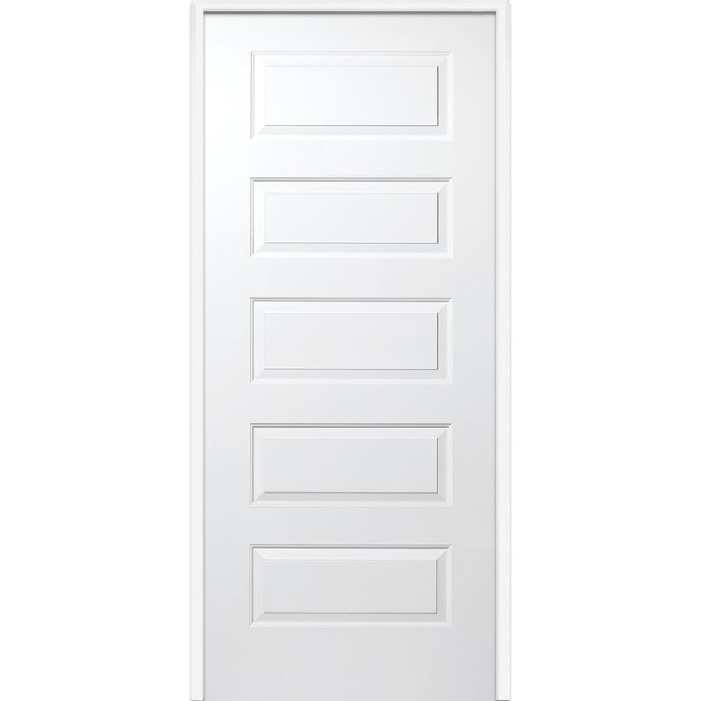 National Door Company Z009465L Solid Core Molded 5-Panel, Left Hand Prehung Interior Door, 30'' x 80''