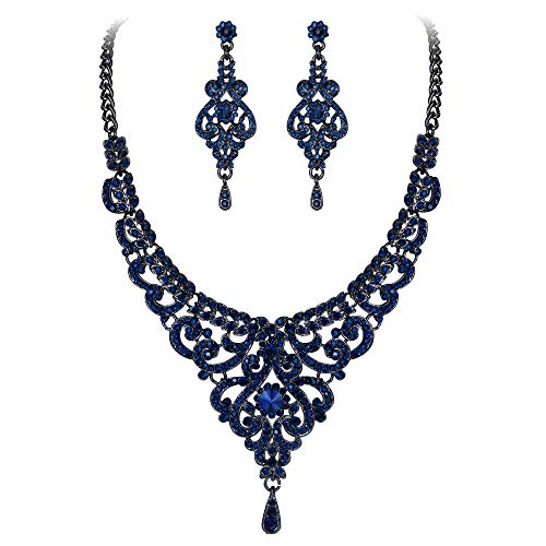 EVER FAITH Women's Austrian Crystal Elegant Bridal Vase Flower Necklace Earrings Set Blue Black-Tone