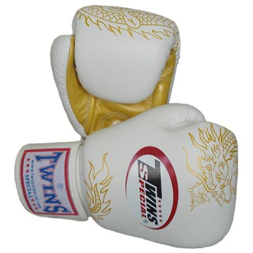 Twins Special Muay Thai Boxing Gloves FBGV-6G-WH White Gold Dragon 8-10-12-14-16 Oz. (14 Oz.)