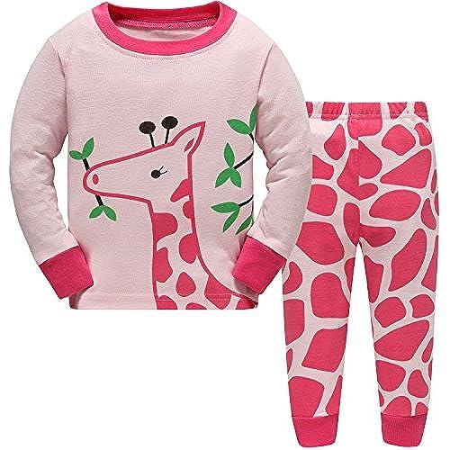hugbug girls pretty giraffe cotton long sleeve toddler pajamas for kid girls 5t