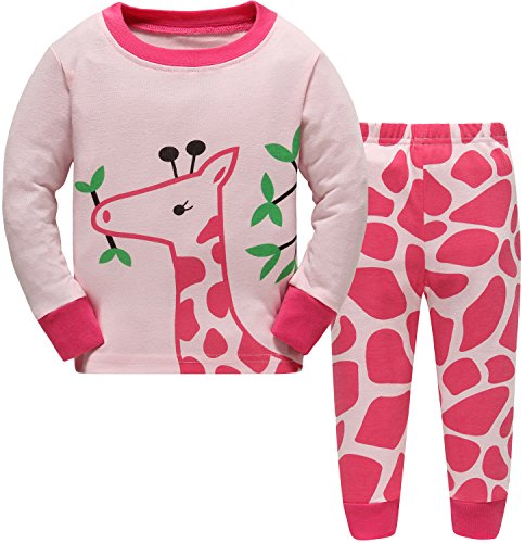 Hugbug Girls Pretty Giraffe Cotton Long Sleeve Toddler Pajamas for Kid Girls 4T (Pretty Girl Outfits)