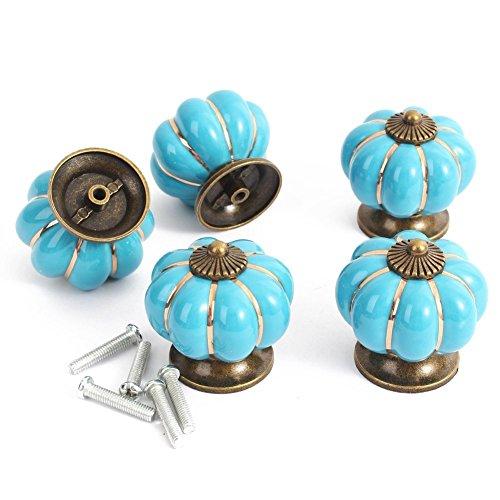 40MM Classic Ceramic Pumpkin Shape Cartoon Cherry Cabinet Knob Drawer Drawer Cupboard Wardrobe Closet Pull Handle Kitchen Home Decoration Furniture Decorating Hardware + 5 Screws (Blue) ()