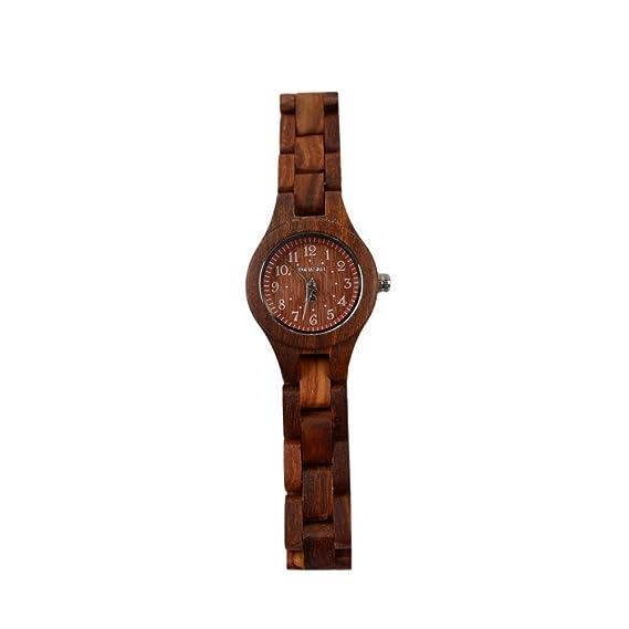 BS ® Moda Mujer Relojes de pulsera de madera ligera con madera de ébano de lujo