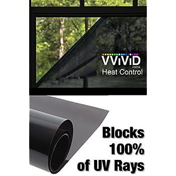 "Heat Control 100% Anti UV Residential Vinyl Wrap 17.9"" x 60"" Dark Tint Roll Home Office Climate Control"