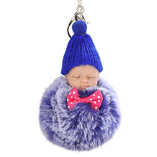 (Siviki 8CM Cute Doll Keychain Pendant Women Key Ring Holder Pompoms Key Chains)
