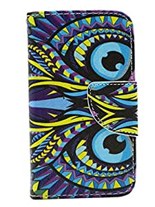 Casecome Colored Drawing Owl Premium Pu Leather Flip Wallet Case Cover for Samsung Galaxy S3 Mini I8190 With Card Slots, Cash Compartment and Free Gift Packs(Stylus Pen,Screen Protector,Cleaning Cloth,Dust Absorber,Squeeze Card and Wet&Dry Screen Cleaner)