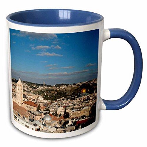3dRose Danita Delimont - Israel - Israel, Jerusalem, Dome of the Rock - AS14 DNY0028 - David Noyes - 15oz Two-Tone Blue Mug (mug_132686_11)