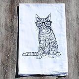 Tea Towel - Cotton Flour Sack - Hand Printed Black Hipster Cat