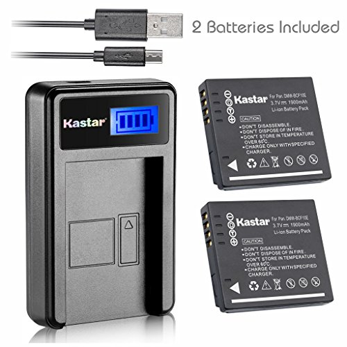 Kastar Battery (X2) & LCD Slim USB Charger for Panasonic DMW-BCF10 and Lumix DMC-TS2 TS3 TS4 DMC-F2 F3 DMC-FH1 FH3 FH20 FH22 DMC-FS6 FS12 FS15 DMC-FS25 DMC-FS42 DMC-FS62 DMC-FT1 DMC-FP8 DMC-FX700 by Kastar