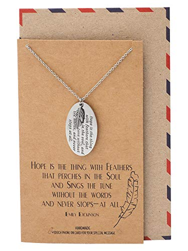 Quan Jewelry Feather and Engraved Oval Plate Pendants Necklace, Inspirational Jewelry for Women